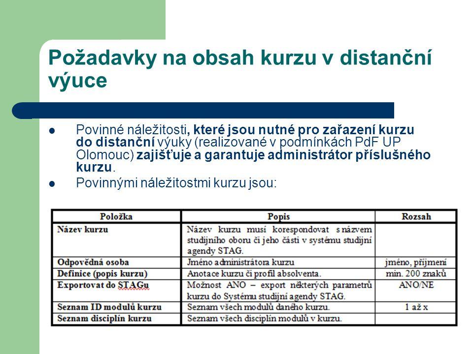 Požadavky na obsah kurzu v distanční výuce Povinné náležitosti, které jsou nutné pro zařazení kurzu do distanční výuky (realizované v podmínkách PdF U