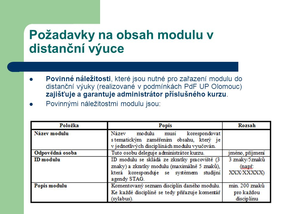 Požadavky na obsah modulu v distanční výuce Povinné náležitosti, které jsou nutné pro zařazení modulu do distanční výuky (realizované v podmínkách PdF