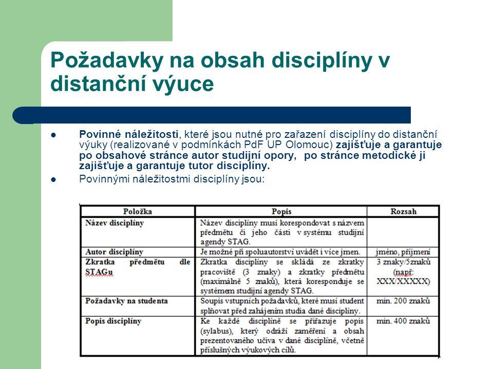 Požadavky na obsah disciplíny v distanční výuce Povinné náležitosti, které jsou nutné pro zařazení disciplíny do distanční výuky (realizované v podmín