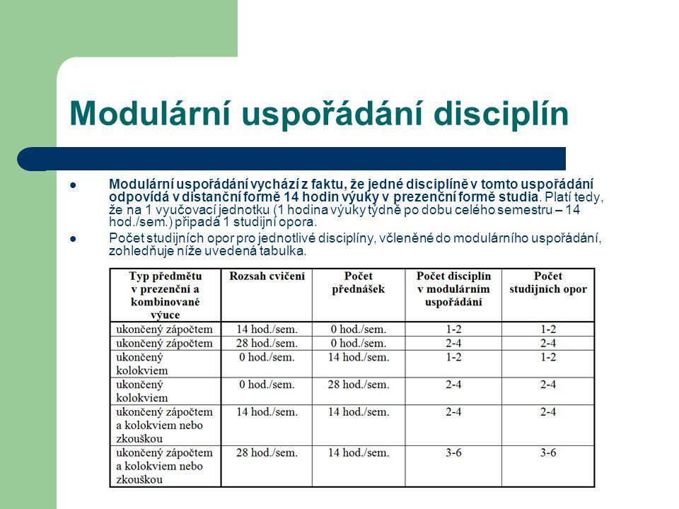 Modulární uspořádání disciplín Modulární uspořádání vychází z faktu, že jedné disciplíně v tomto uspořádání odpovídá v distanční formě 14 hodin výuky
