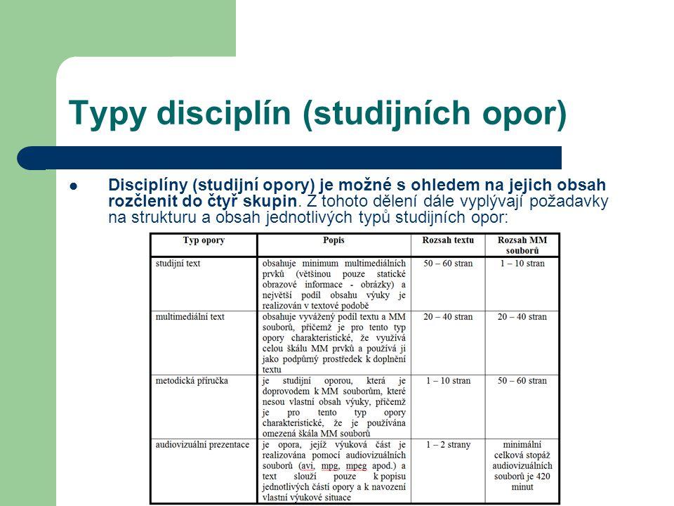 Typy disciplín (studijních opor) Disciplíny (studijní opory) je možné s ohledem na jejich obsah rozčlenit do čtyř skupin. Z tohoto dělení dále vyplýva