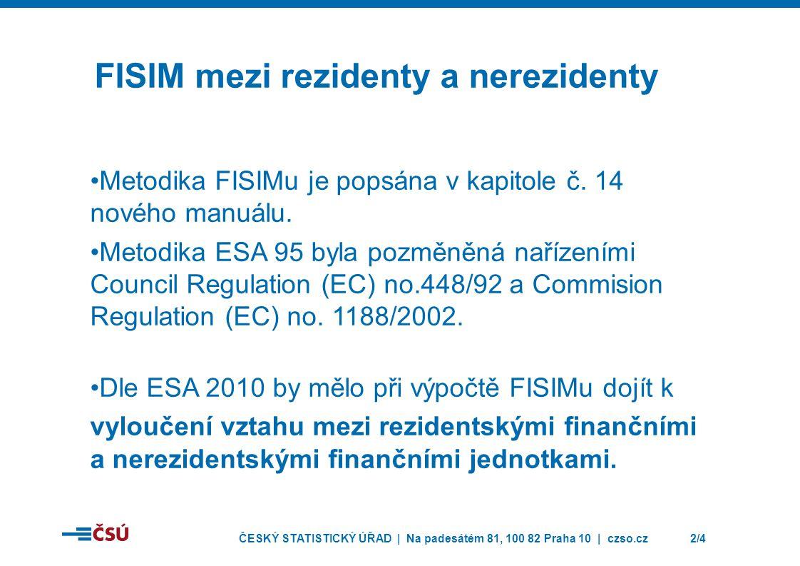 ČESKÝ STATISTICKÝ ÚŘAD | Na padesátém 81, 100 82 Praha 10 | czso.cz2/4 FISIM mezi rezidenty a nerezidenty Metodika FISIMu je popsána v kapitole č. 14