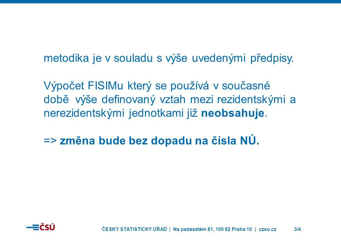 ČESKÝ STATISTICKÝ ÚŘAD | Na padesátém 81, 100 82 Praha 10 | czso.cz3/4 metodika je v souladu s výše uvedenými předpisy. Výpočet FISIMu který se použív