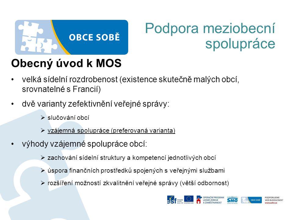 Podpora meziobecní spolupráce Obecný úvod k MOS velká sídelní rozdrobenost (existence skutečně malých obcí, srovnatelné s Francií) dvě varianty zefekt