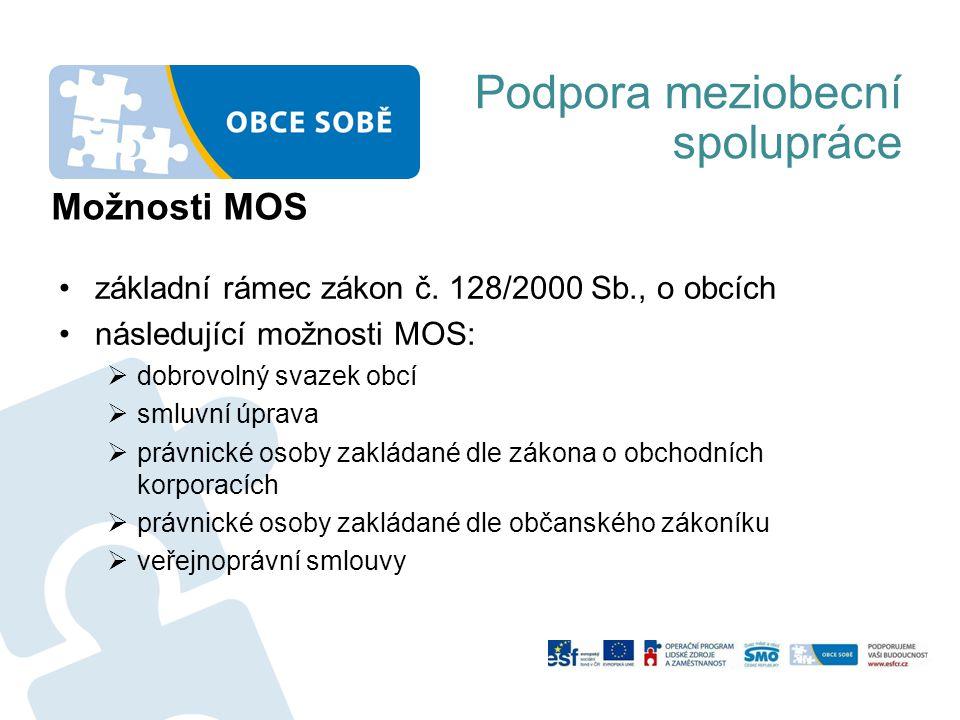 Podpora meziobecní spolupráce Možnosti MOS základní rámec zákon č. 128/2000 Sb., o obcích následující možnosti MOS:  dobrovolný svazek obcí  smluvní