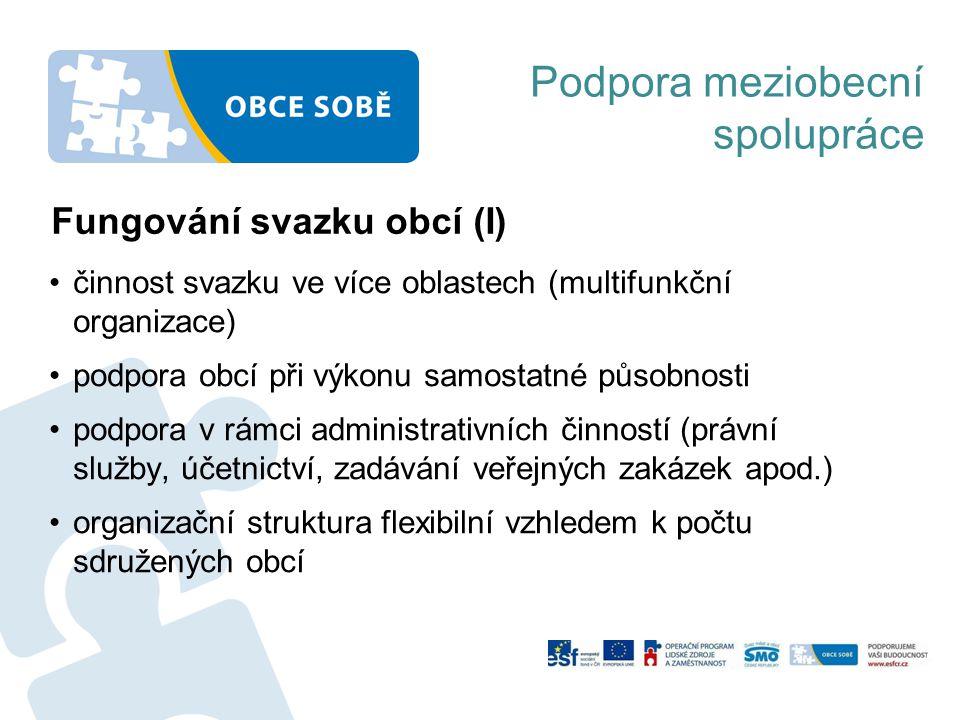 Podpora meziobecní spolupráce Fungování svazku obcí (I) činnost svazku ve více oblastech (multifunkční organizace) podpora obcí při výkonu samostatné