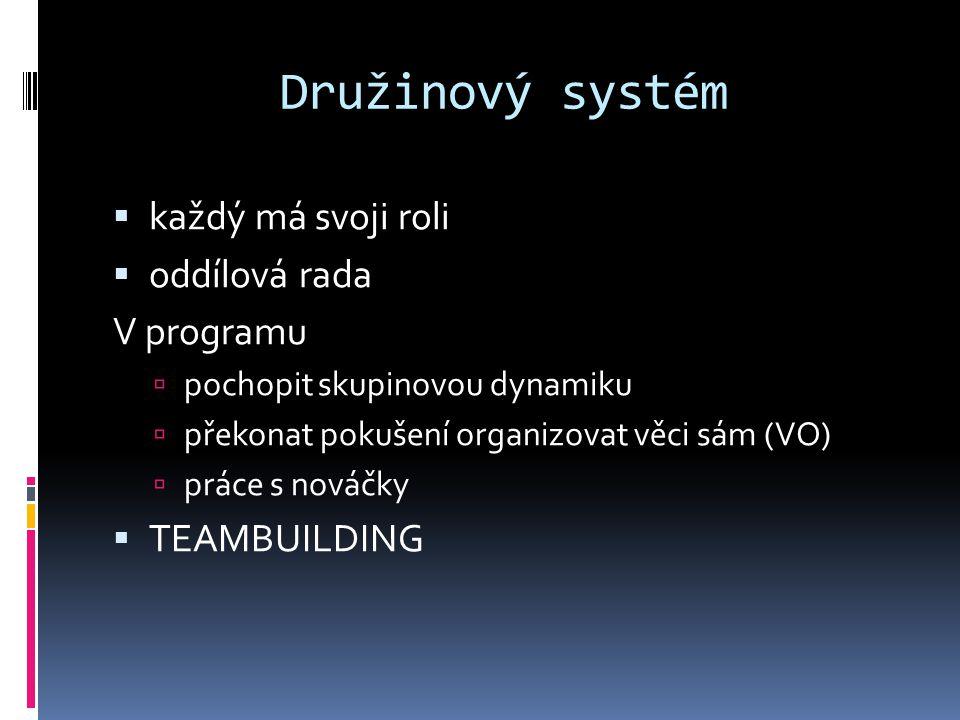 Družinový systém  každý má svoji roli  oddílová rada V programu  pochopit skupinovou dynamiku  překonat pokušení organizovat věci sám (VO)  práce