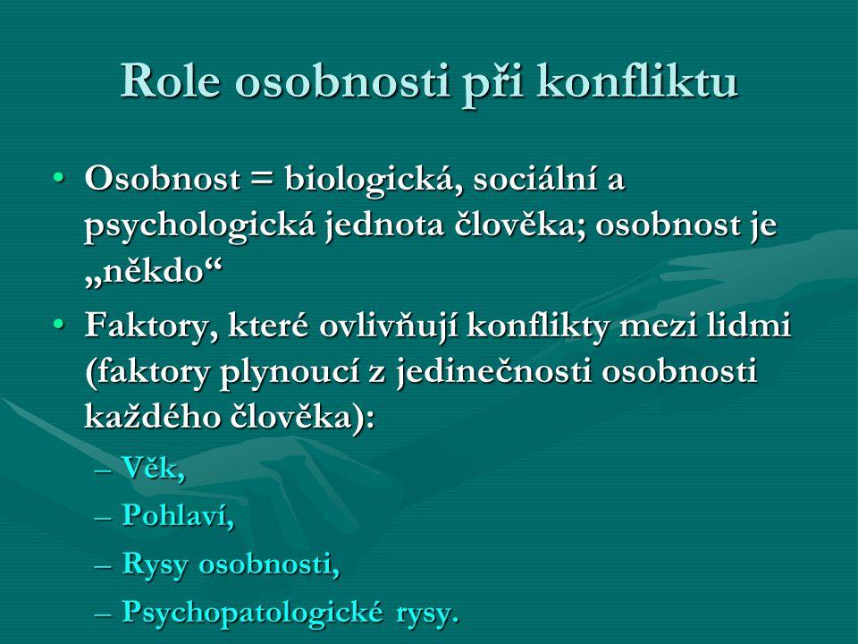 """Role osobnosti při konfliktu Osobnost = biologická, sociální a psychologická jednota člověka; osobnost je """"někdo""""Osobnost = biologická, sociální a psy"""