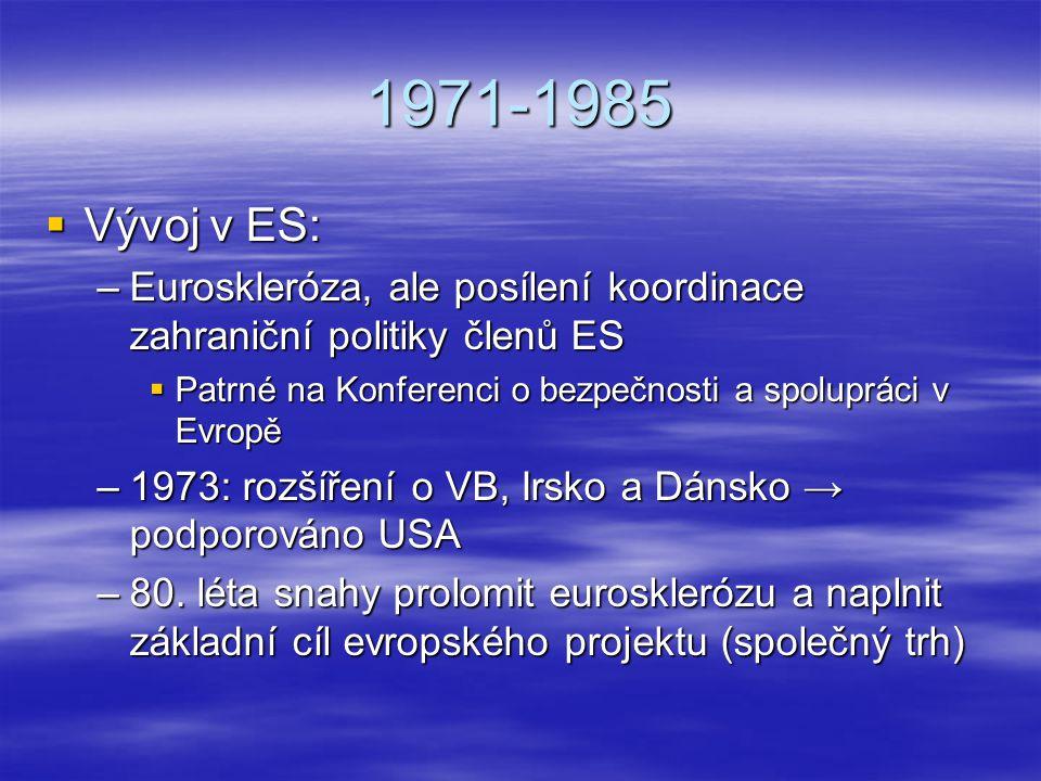 1971-1985  Vývoj v ES: –Euroskleróza, ale posílení koordinace zahraniční politiky členů ES  Patrné na Konferenci o bezpečnosti a spolupráci v Evropě