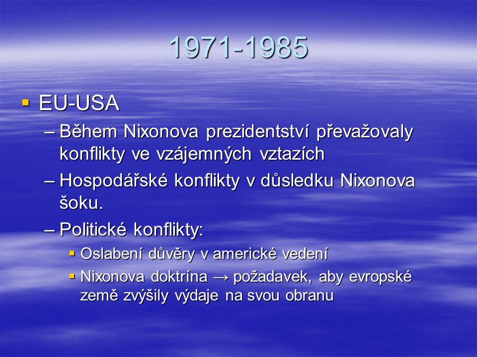 1971-1985  EU-USA –Během Nixonova prezidentství převažovaly konflikty ve vzájemných vztazích –Hospodářské konflikty v důsledku Nixonova šoku. –Politi