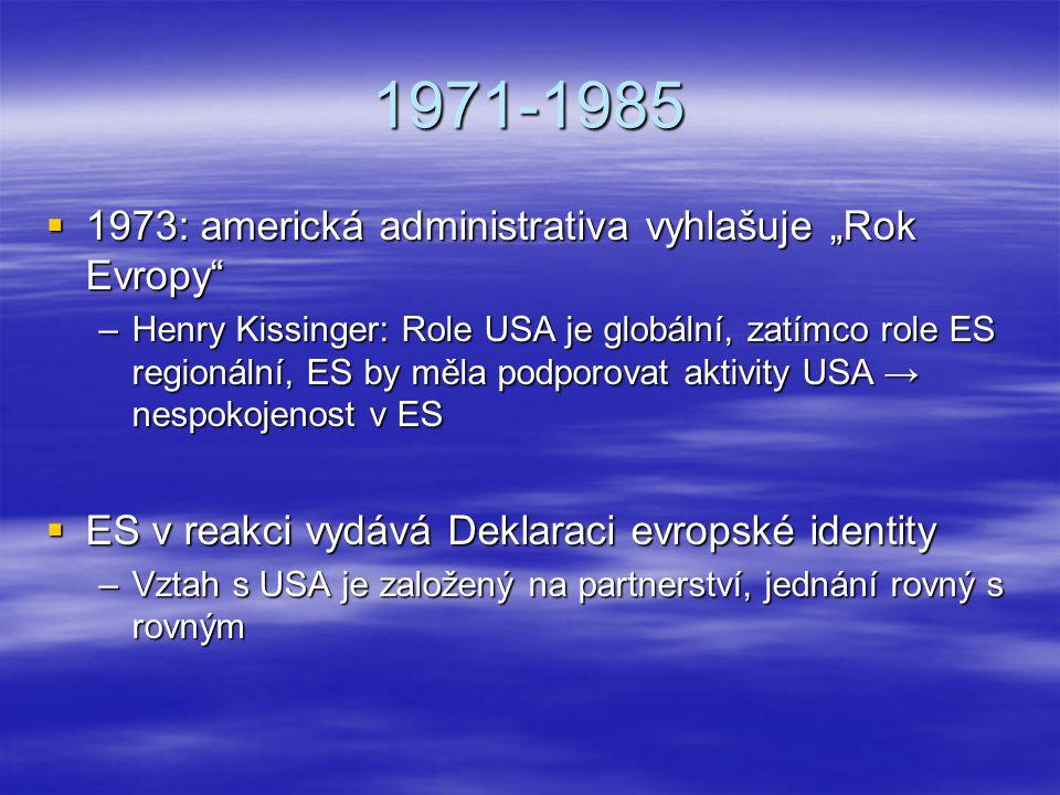 """1971-1985  1973: americká administrativa vyhlašuje """"Rok Evropy"""" –Henry Kissinger: Role USA je globální, zatímco role ES regionální, ES by měla podpor"""
