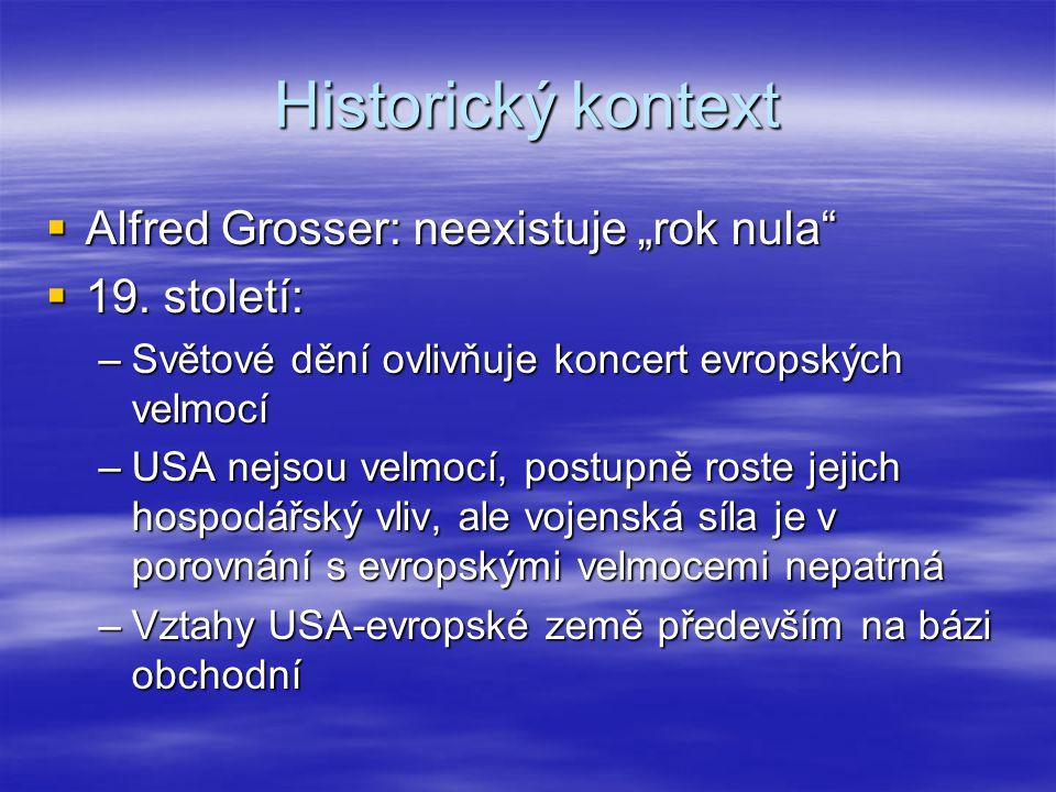 """Historický kontext  Alfred Grosser: neexistuje """"rok nula""""  19. století: –Světové dění ovlivňuje koncert evropských velmocí –USA nejsou velmocí, post"""