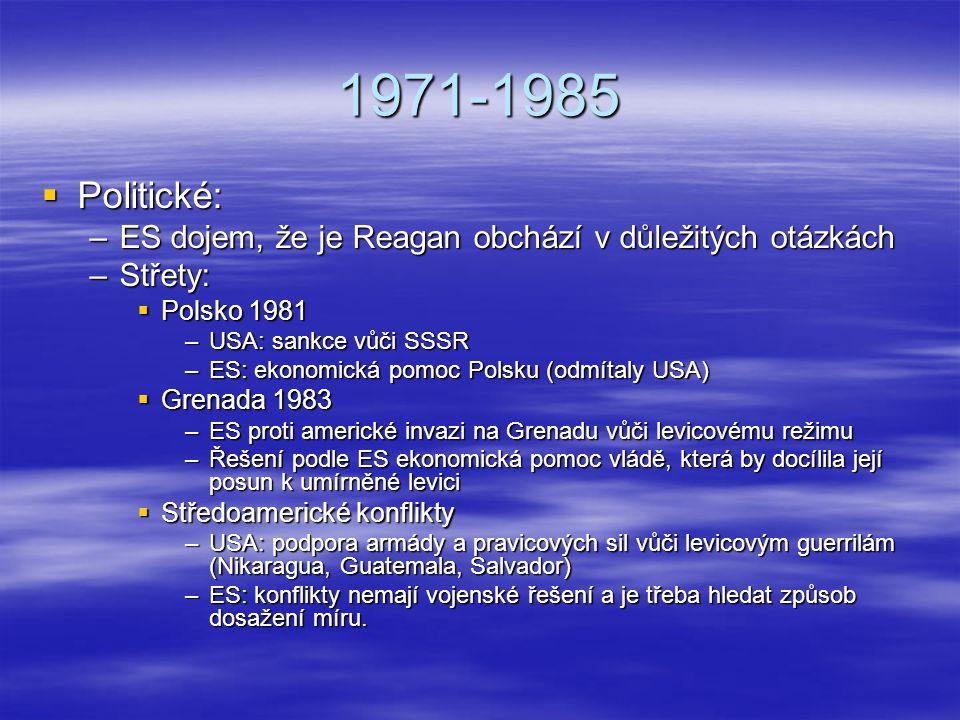 1971-1985  Politické: –ES dojem, že je Reagan obchází v důležitých otázkách –Střety:  Polsko 1981 –USA: sankce vůči SSSR –ES: ekonomická pomoc Polsk
