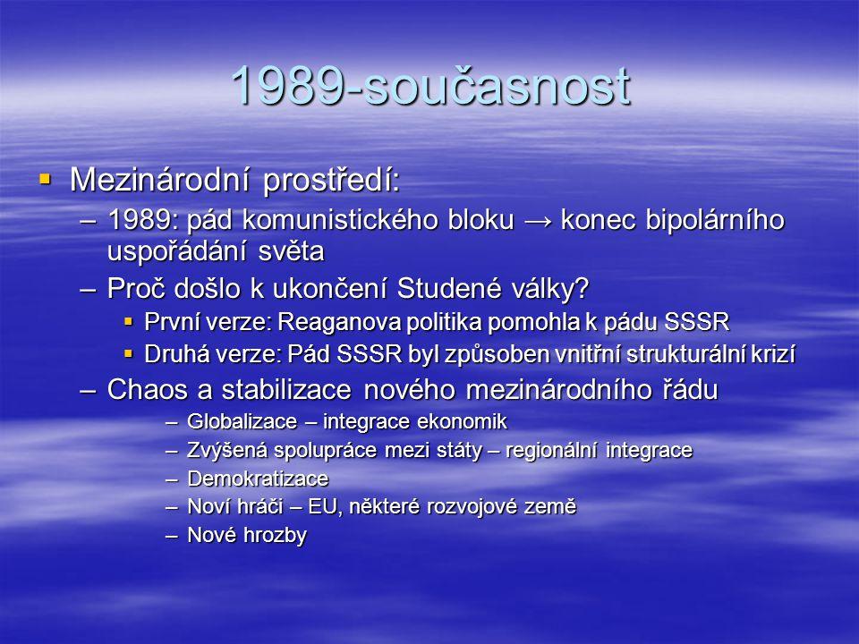 1989-současnost  Mezinárodní prostředí: –1989: pád komunistického bloku → konec bipolárního uspořádání světa –Proč došlo k ukončení Studené války? 