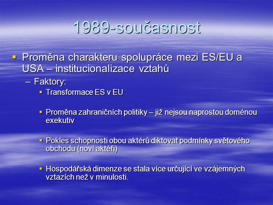 1989-současnost  Proměna charakteru spolupráce mezi ES/EU a USA – institucionalizace vztahů –Faktory:  Transformace ES v EU  Proměna zahraničních p