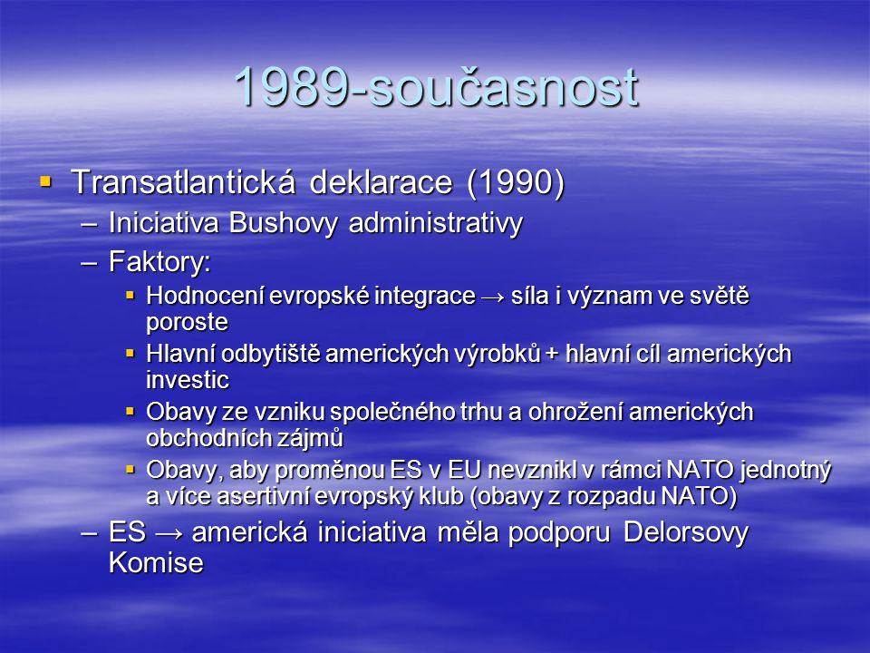 1989-současnost  Transatlantická deklarace (1990) –Iniciativa Bushovy administrativy –Faktory:  Hodnocení evropské integrace → síla i význam ve svět