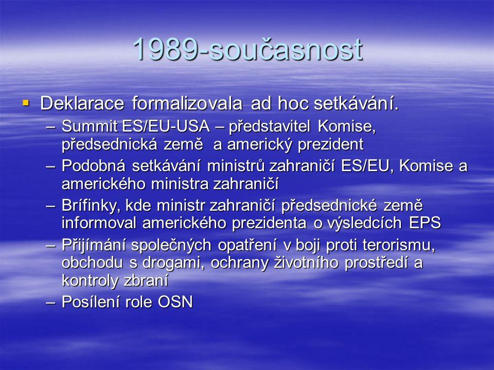 1989-současnost  Deklarace formalizovala ad hoc setkávání. –Summit ES/EU-USA – představitel Komise, předsednická země a americký prezident –Podobná s