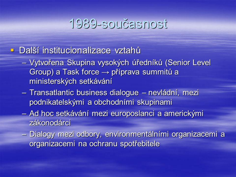 1989-současnost  Další institucionalizace vztahů –Vytvořena Skupina vysokých úředníků (Senior Level Group) a Task force → příprava summitů a minister