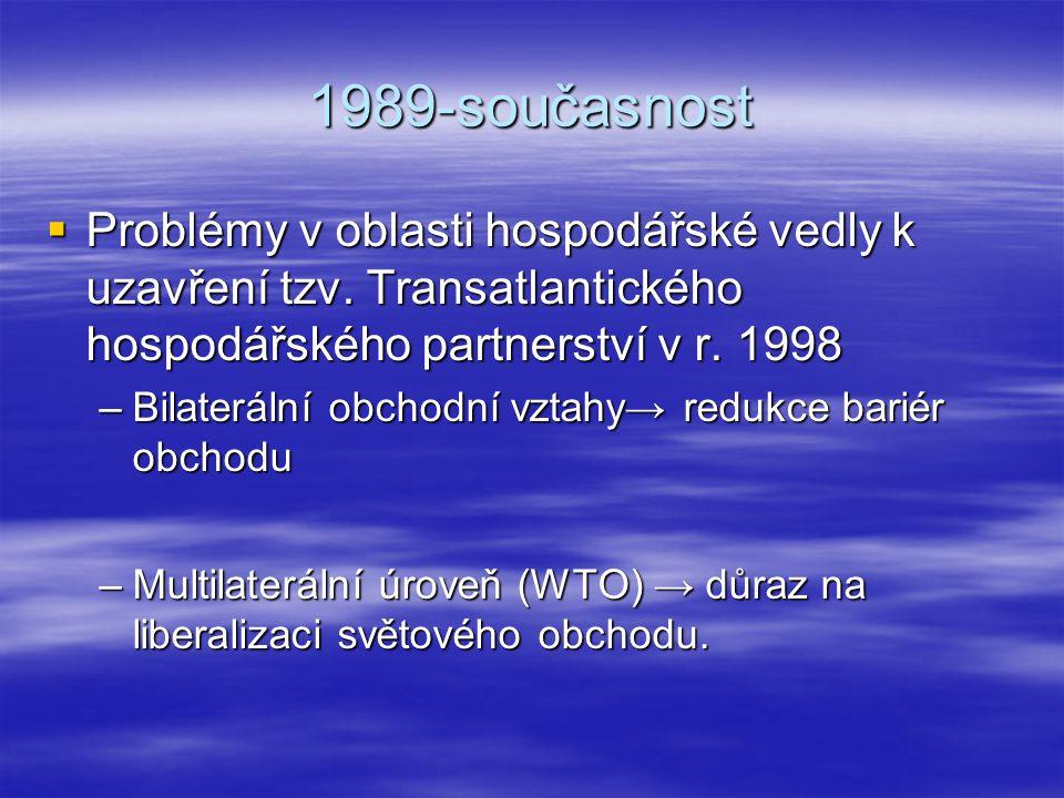 1989-současnost  Problémy v oblasti hospodářské vedly k uzavření tzv. Transatlantického hospodářského partnerství v r. 1998 –Bilaterální obchodní vzt