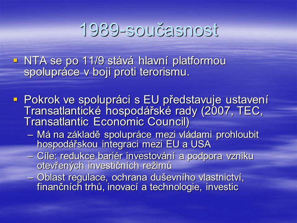 1989-současnost  NTA se po 11/9 stává hlavní platformou spolupráce v boji proti terorismu.  Pokrok ve spolupráci s EU představuje ustavení Transatla