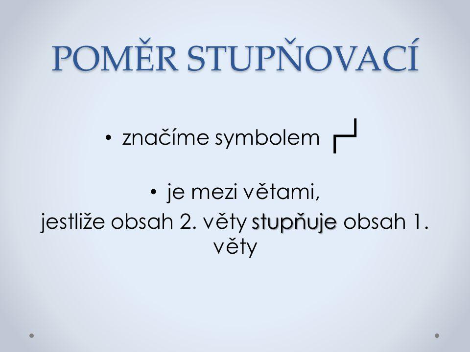 POMĚR STUPŇOVACÍ značíme symbolem ┌┘ je mezi větami, stupňuje jestliže obsah 2. věty stupňuje obsah 1. věty