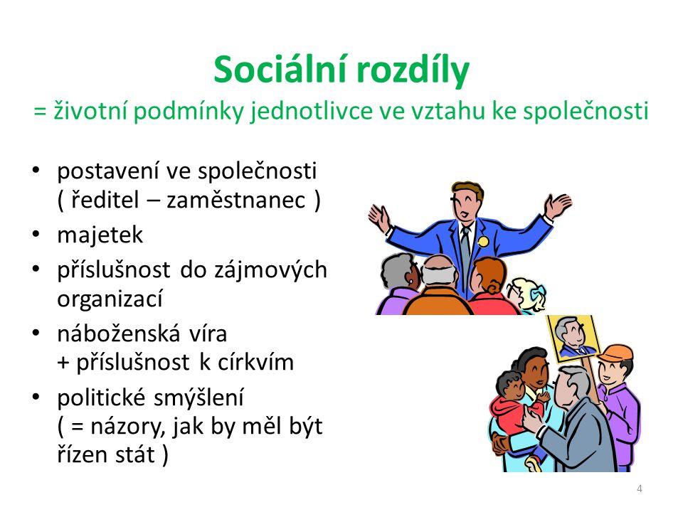 Sociální rozdíly = životní podmínky jednotlivce ve vztahu ke společnosti postavení ve společnosti ( ředitel – zaměstnanec ) majetek příslušnost do zájmových organizací náboženská víra + příslušnost k církvím politické smýšlení ( = názory, jak by měl být řízen stát ) 4