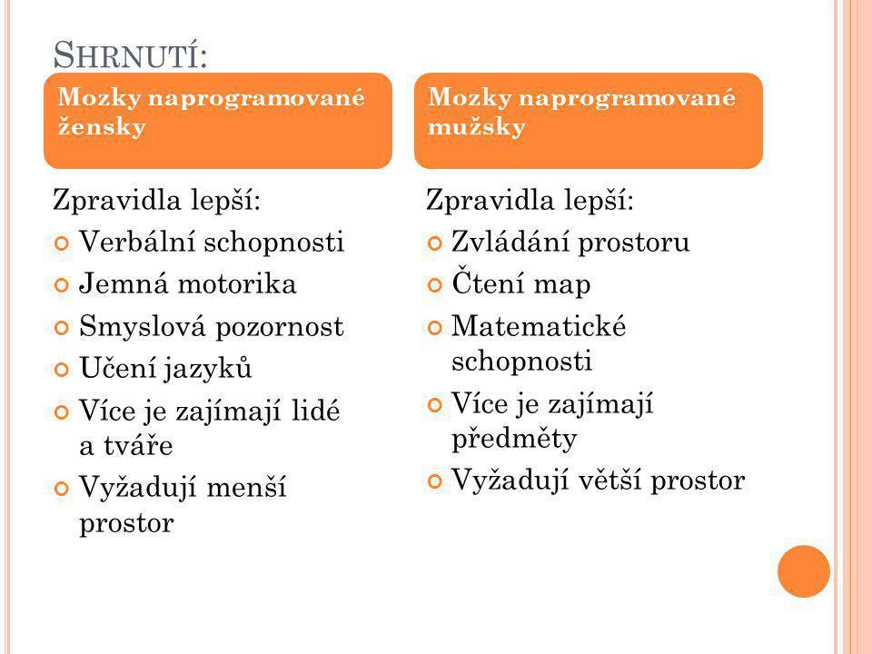 S HRNUTÍ : Zpravidla lepší: Verbální schopnosti Jemná motorika Smyslová pozornost Učení jazyků Více je zajímají lidé a tváře Vyžadují menší prostor Zp