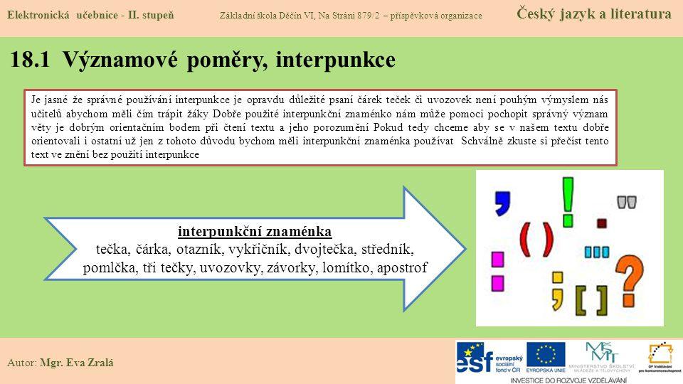 18.1 Významové poměry, interpunkce Elektronická učebnice - II.