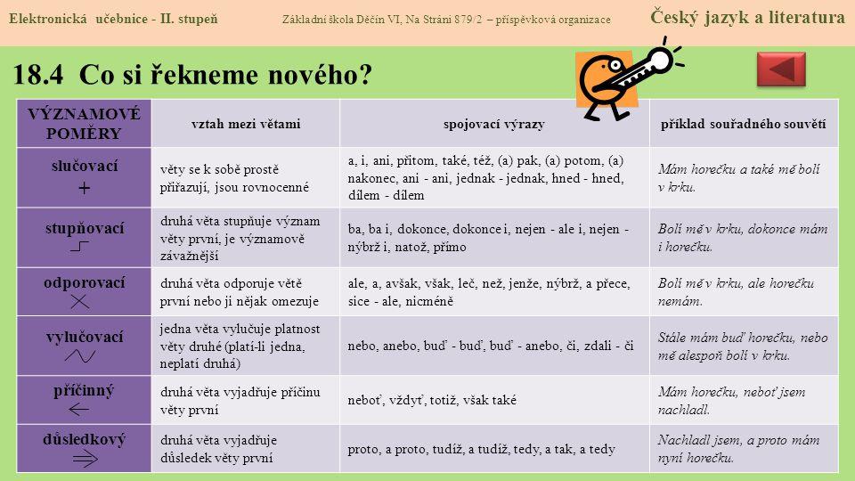 18.4 Co si řekneme nového.Elektronická učebnice - II.