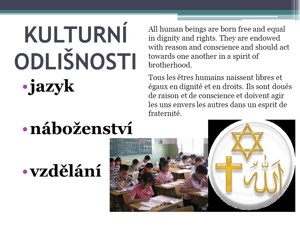 KULTURNÍ ODLIŠNOSTI jazyk náboženství vzdělání All human beings are born free and equal in dignity and rights. They are endowed with reason and consci