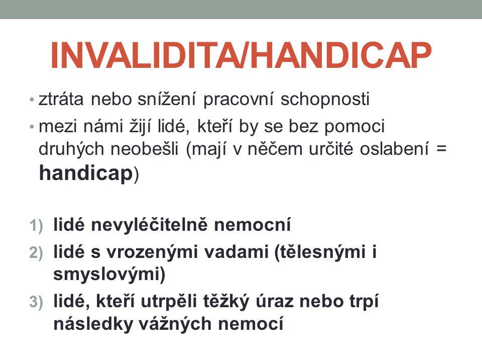 INVALIDITA/HANDICAP ztráta nebo snížení pracovní schopnosti mezi námi žijí lidé, kteří by se bez pomoci druhých neobešli (mají v něčem určité oslabení = handicap ) 1) lidé nevyléčitelně nemocní 2) lidé s vrozenými vadami (tělesnými i smyslovými) 3) lidé, kteří utrpěli těžký úraz nebo trpí následky vážných nemocí