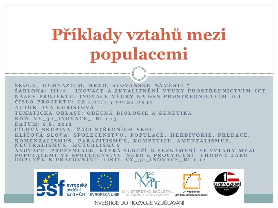 ŠKOLA: GYMNÁZIUM, BRNO, SLOVANSKÉ NÁMĚSTÍ 7 ŠABLONA: III/2 – INOVACE A ZKVALITNĚNÍ VÝUKY PROSTŘEDNICTVÍM ICT NÁZEV PROJEKTU: INOVACE VÝUKY NA GSN PROS