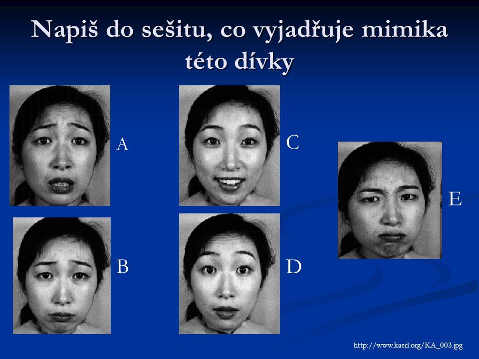 Napiš do sešitu, co vyjadřuje mimika této dívky A B C D E http://www.kasrl.org/KA_003.jpg