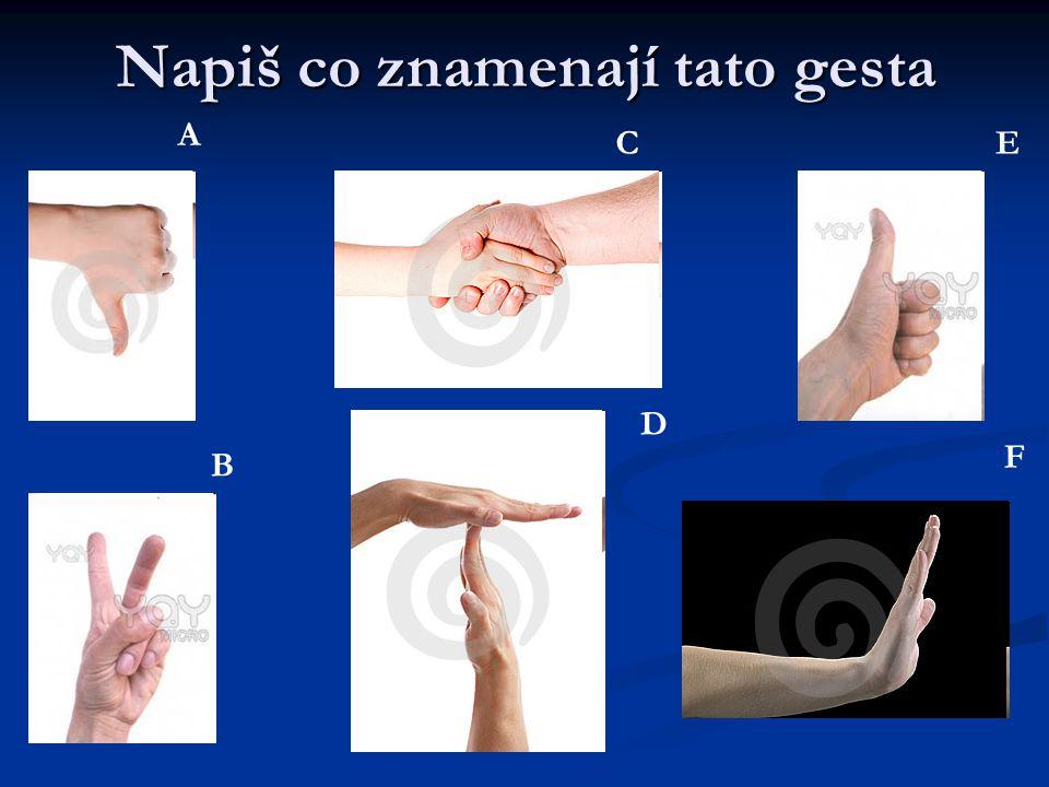 Napiš co znamenají tato gesta A B C D E F