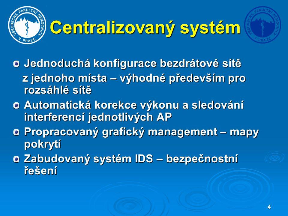 4 Centralizovaný systém Jednoduchá konfigurace bezdrátové sítě z jednoho místa – výhodné především pro rozsáhlé sítě z jednoho místa – výhodné předevš