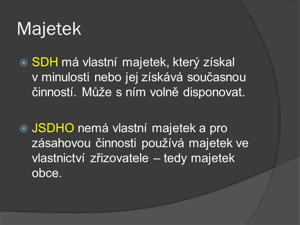 Majetek  SDH má vlastní majetek, který získal v minulosti nebo jej získává současnou činností.