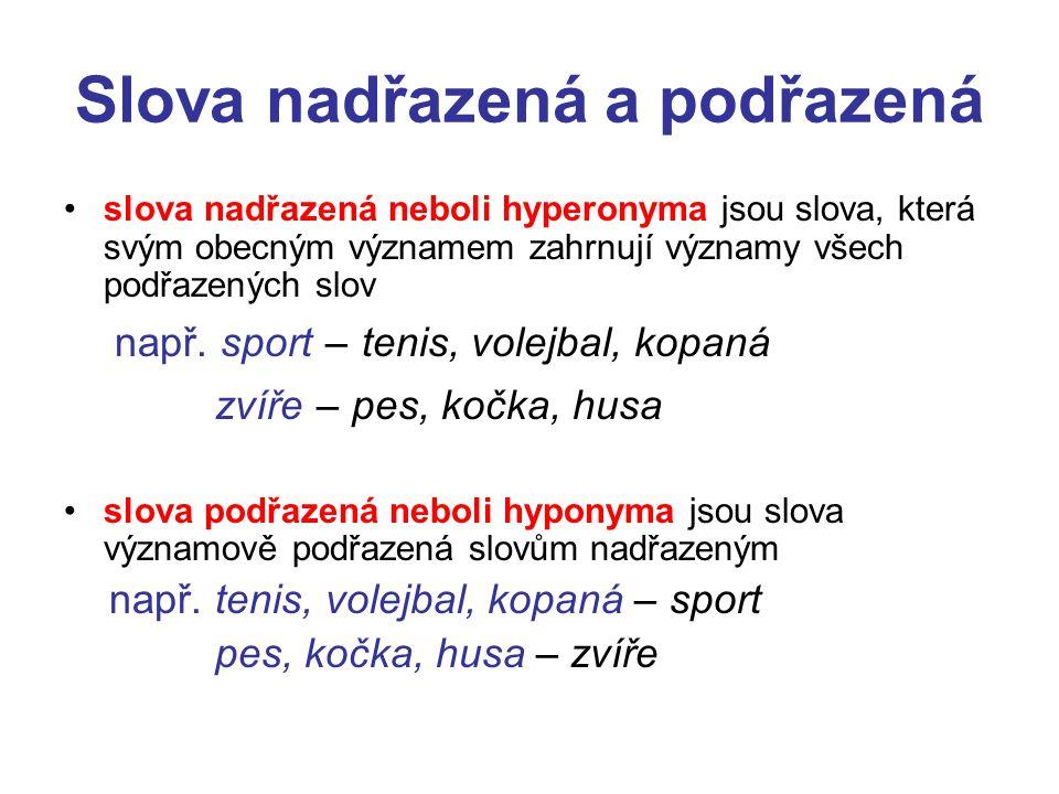 Slova nadřazená a podřazená slova nadřazená neboli hyperonyma jsou slova, která svým obecným významem zahrnují významy všech podřazených slov např. sp