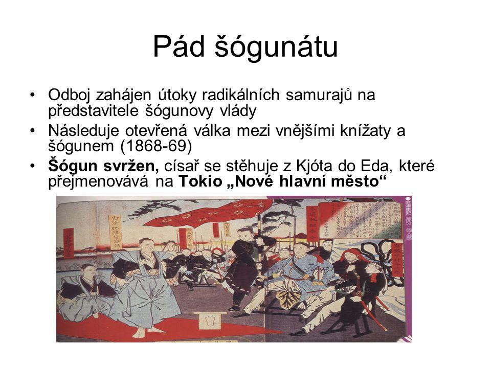 """Zahájení reforem Meidži """"Osvícená vláda Do země pozvány tisíce zahraničních odborníků Tisíce japonských studentů vysláno do Evropy a USA Zavedena ústava a parlament Zrušena privilegia samurajů Budován průmysl, školství,moderní armáda a loďstvo"""