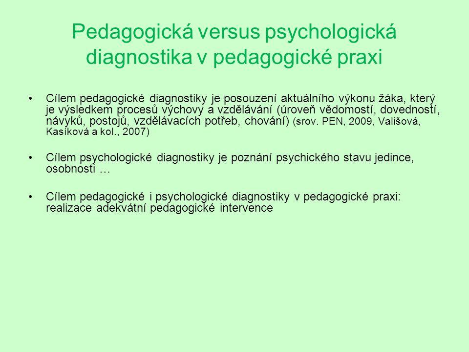 Pedagogická versus psychologická diagnostika v pedagogické praxi Cílem pedagogické diagnostiky je posouzení aktuálního výkonu žáka, který je výsledkem