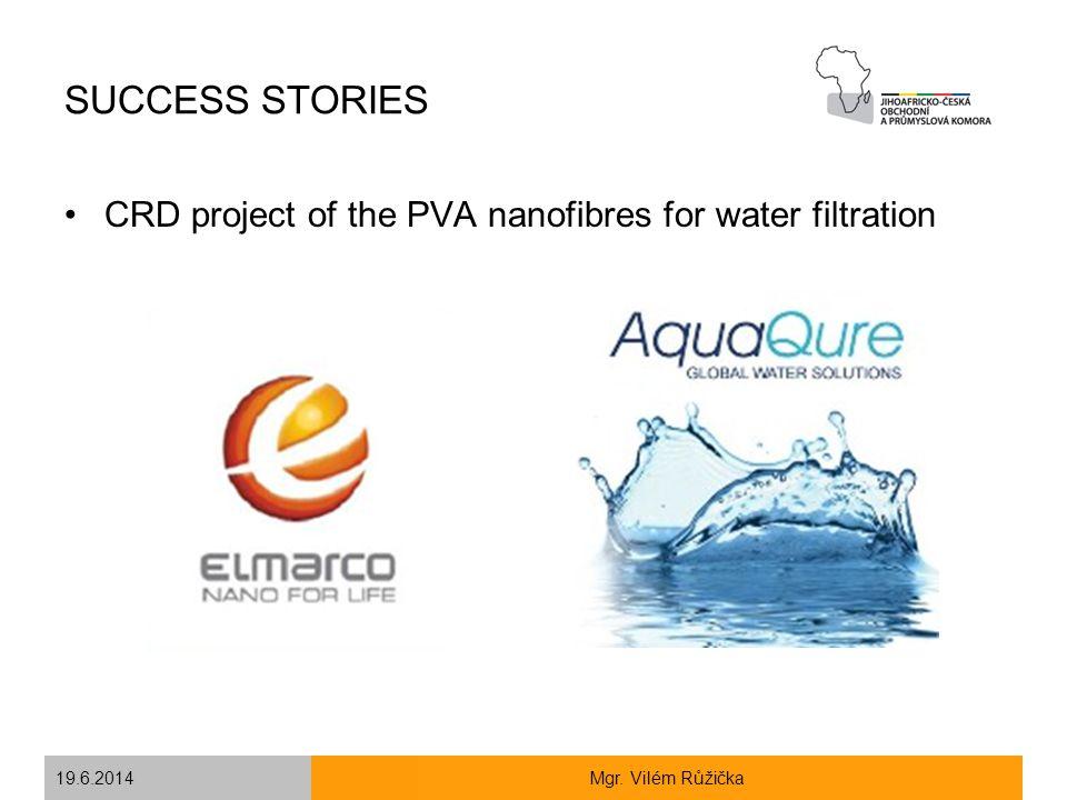 19.6.2014Mgr. Vilém Růžička SUCCESS STORIES CRD project of the PVA nanofibres for water filtration