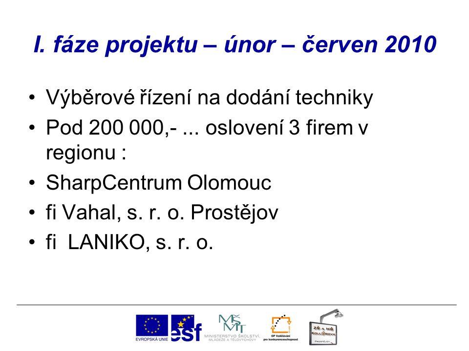 I. fáze projektu – únor – červen 2010 Výběrové řízení na dodání techniky Pod 200 000,-... oslovení 3 firem v regionu : SharpCentrum Olomouc fi Vahal,