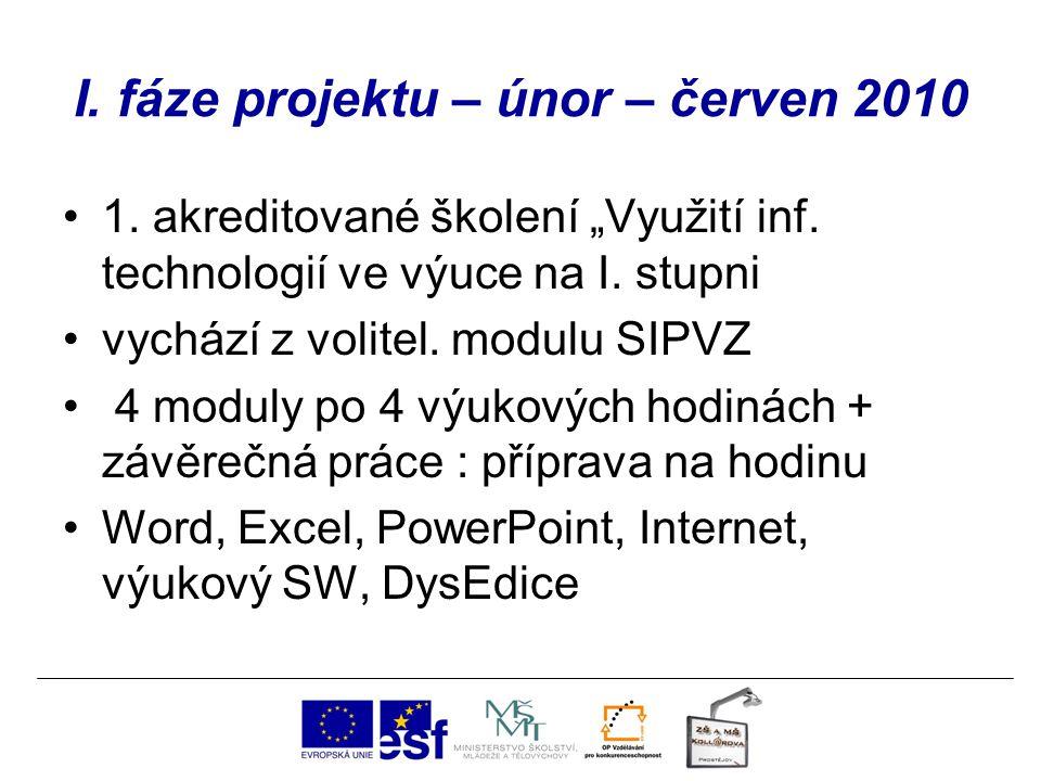 """I. fáze projektu – únor – červen 2010 1. akreditované školení """"Využití inf. technologií ve výuce na I. stupni vychází z volitel. modulu SIPVZ 4 moduly"""