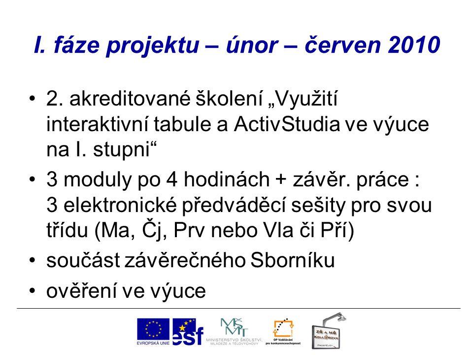 """I. fáze projektu – únor – červen 2010 2. akreditované školení """"Využití interaktivní tabule a ActivStudia ve výuce na I. stupni"""" 3 moduly po 4 hodinách"""