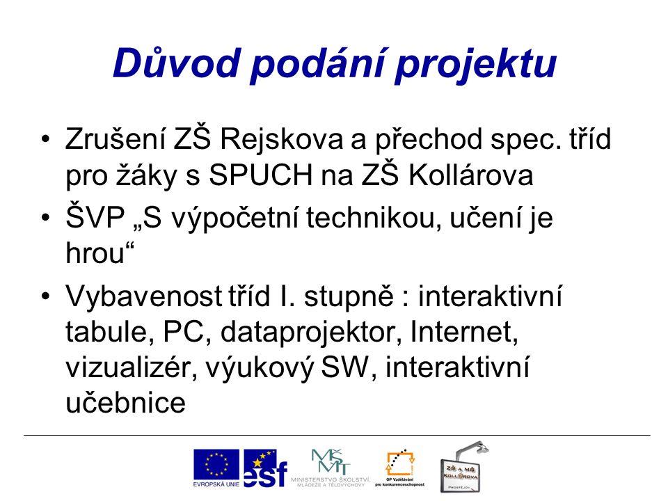 Důvod podání projektu Zrušení ZŠ Rejskova a přechod spec.