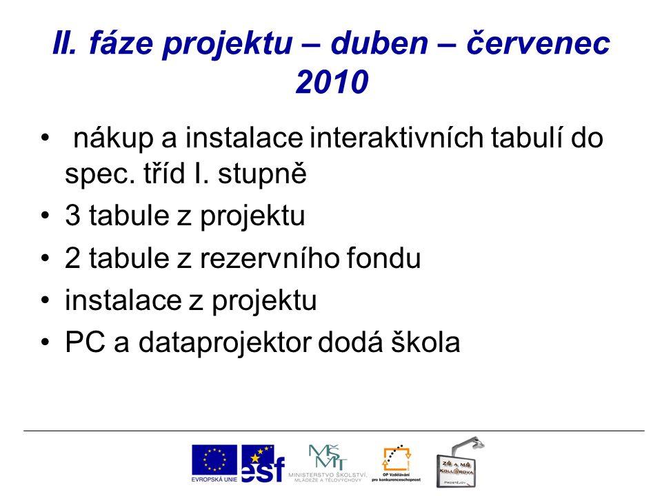 II. fáze projektu – duben – červenec 2010 nákup a instalace interaktivních tabulí do spec. tříd I. stupně 3 tabule z projektu 2 tabule z rezervního fo