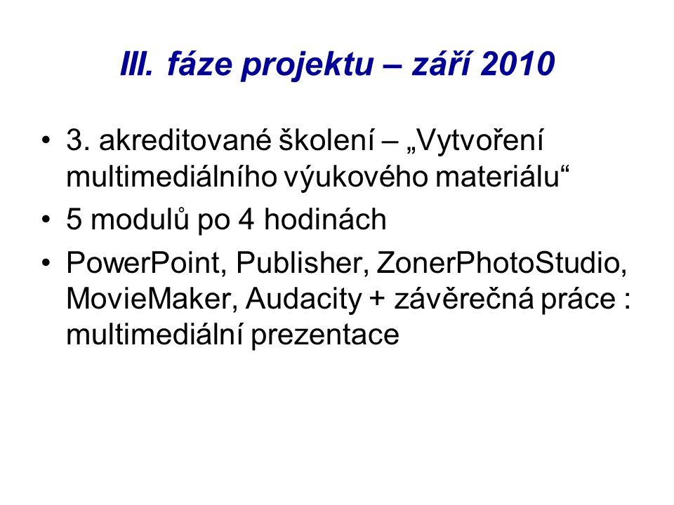 """III. fáze projektu – září 2010 3. akreditované školení – """"Vytvoření multimediálního výukového materiálu"""" 5 modulů po 4 hodinách PowerPoint, Publisher,"""