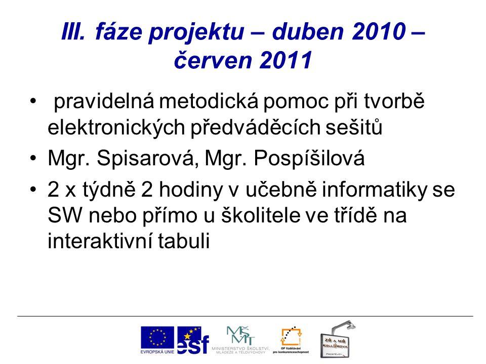 III. fáze projektu – duben 2010 – červen 2011 pravidelná metodická pomoc při tvorbě elektronických předváděcích sešitů Mgr. Spisarová, Mgr. Pospíšilov