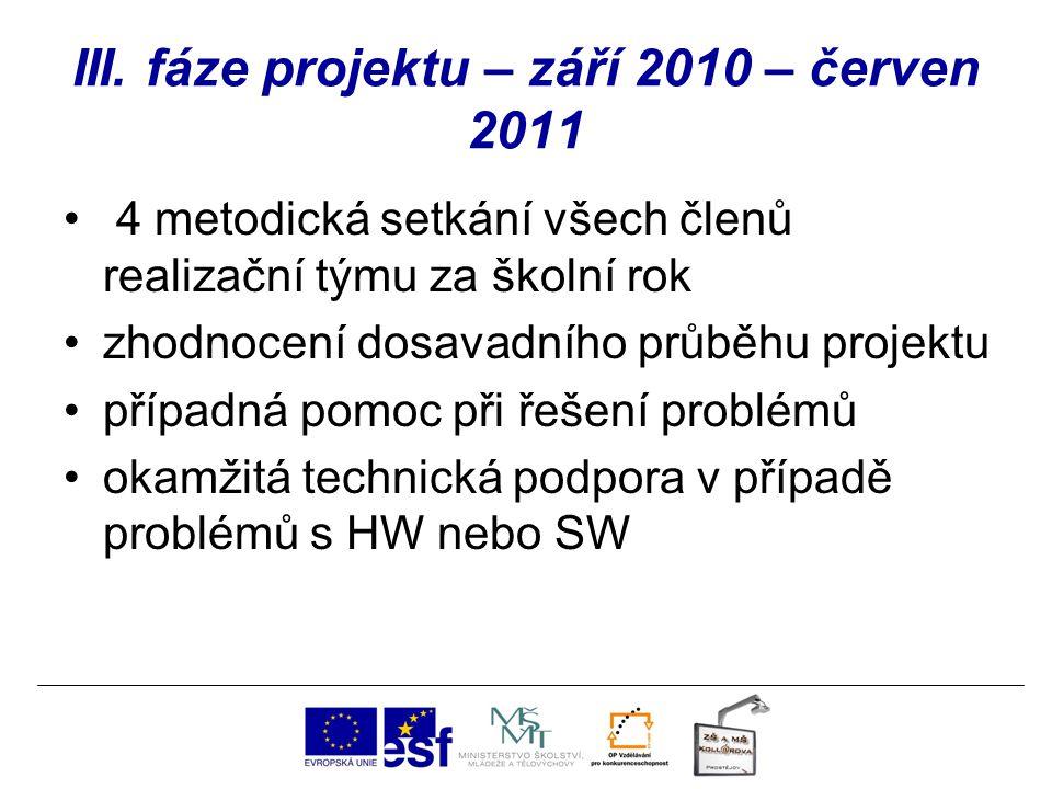 III. fáze projektu – září 2010 – červen 2011 4 metodická setkání všech členů realizační týmu za školní rok zhodnocení dosavadního průběhu projektu pří