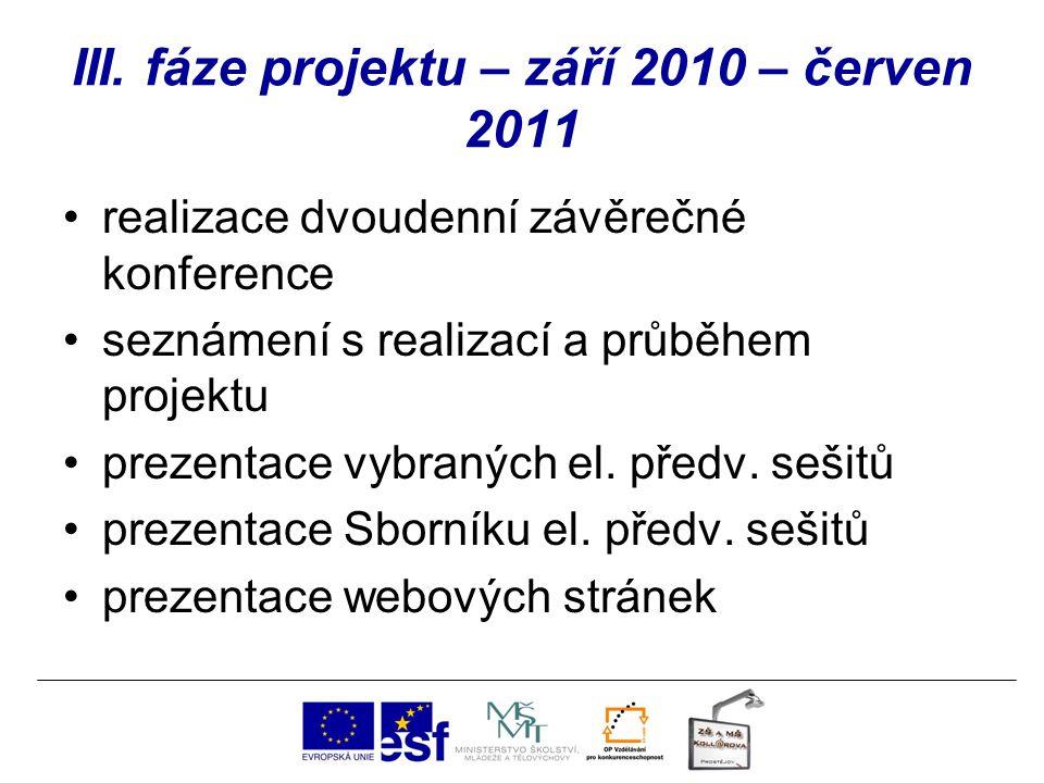 III. fáze projektu – září 2010 – červen 2011 realizace dvoudenní závěrečné konference seznámení s realizací a průběhem projektu prezentace vybraných e