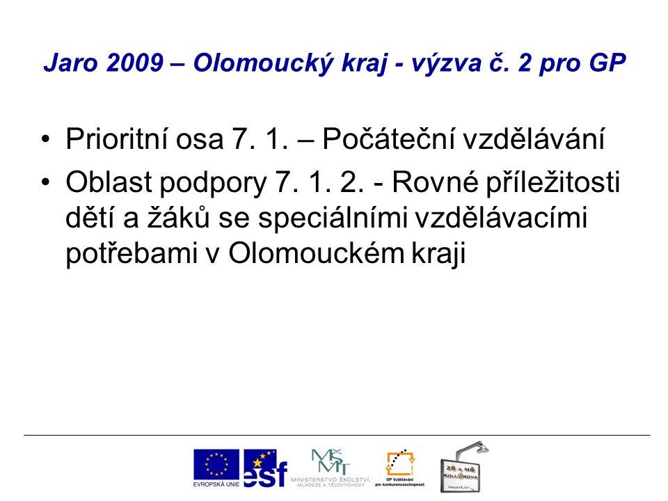Jaro 2009 – Olomoucký kraj - výzva č. 2 pro GP Prioritní osa 7. 1. – Počáteční vzdělávání Oblast podpory 7. 1. 2. - Rovné příležitosti dětí a žáků se